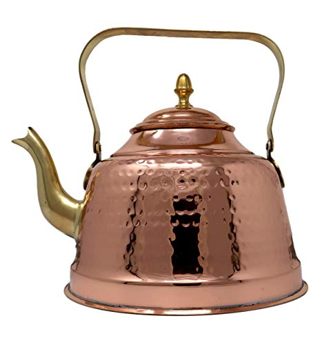 ShalinIndia Pack Of 6 Indian Copper Kettle For Warming Water Tea And Coffee Traditional Kitchen Utensils Capacity 1200 Ml