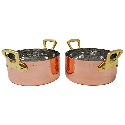 Set Of 2 Copper Cookware Pot With Brass Handles 350 ml