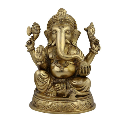 Religious Statue Ganesha Idol Hindu Decor Figurine; Brass; 7.5 Inches