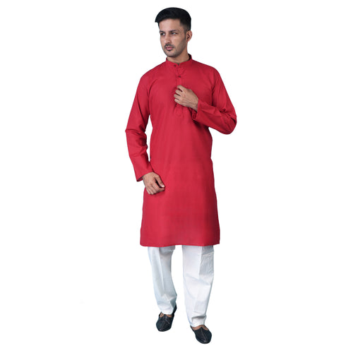 ShalinIndia Ethnic Indian Clothes Kurta Pajama Set for Men Casual Clothing Red