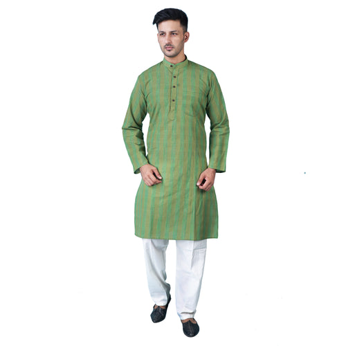 ShalinIndia Traditional Indian Wear Kurta Pajama Set for Men Casual Clothing Moss Green