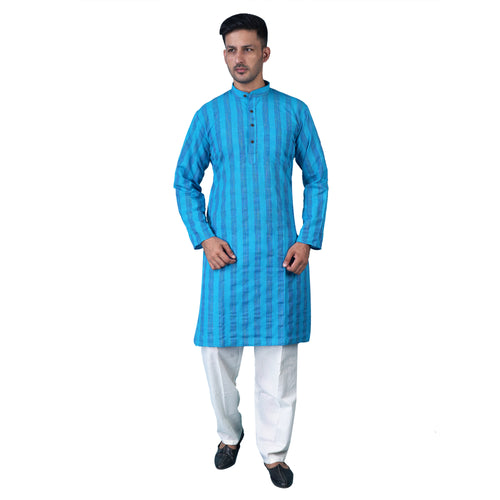 ShalinIndia Traditional Indian Fashion Kurta Pajama Set for Men Casual Clothing Sky Blue