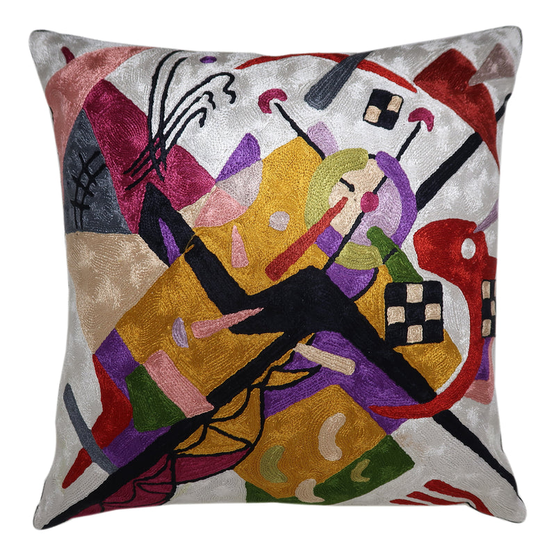 ShalinIndia Art Inspired Cushion Cover 18x18 Hand Embroidery Needle Thread