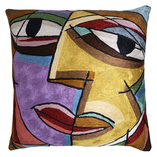 ShalinIndia Artisan Crafted Cushion Cover 18x18 Hand Embroidery Needle Thread