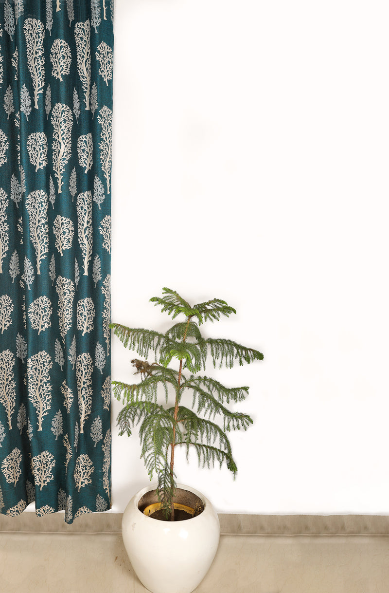 Shlinindia Green Polyester Curtains For Living Room Summer Decoration Set Of 2 Panels(K_CT_001)