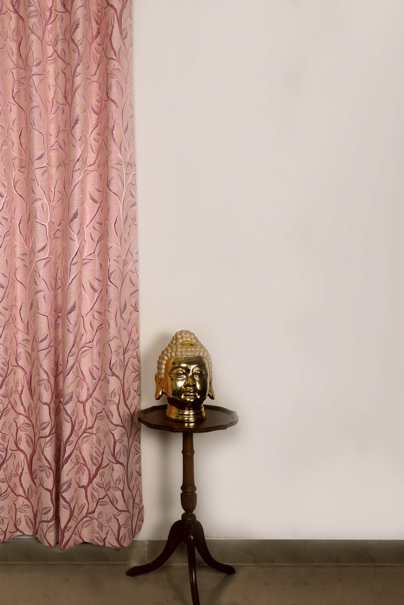Shlinindia Printed Pink Polyester Curtains For Living Room Summer Decoration Set Of 2 Panels(K_CT_007)