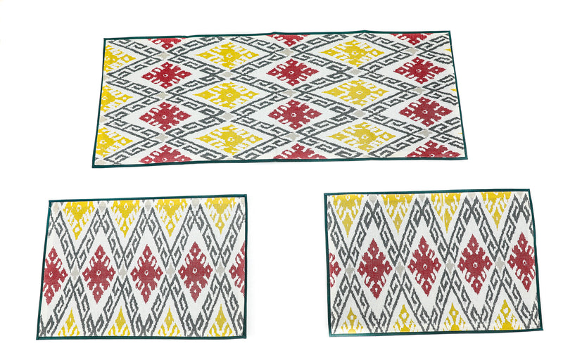 ShalinIndia Home Decor Heavy Cotton Yellow and Maroon Color Geometrical Design Printed Dinning Center Side Table Place Matt and Runner Size 13x35 Inch(K_RNR_PLM_001)