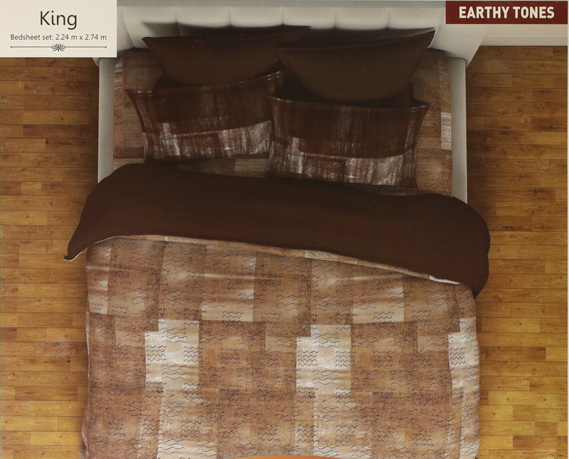 ShalinIndia Comfortable Glace Cotton Bedspread for Double Bed Queen Size Soft Luxury Flat Sheet with 2 Pillow Covers Bedroom Decor Bedding Set Printed Geometical Brown_Square