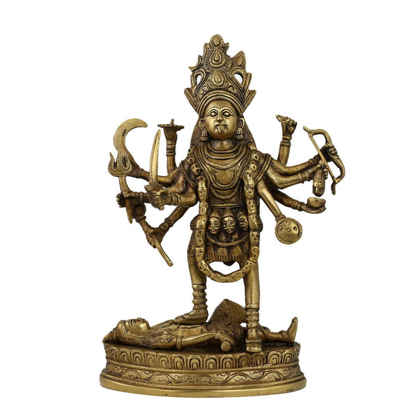 Goddess Kali Statue Religious Decor Spiritual; Brass; 11.5 Inches