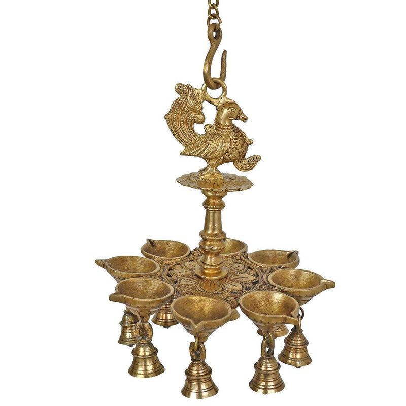Indian Lamp Set Diwali Lights Hanging Bells Peacock Sculpture Art Metal Brass