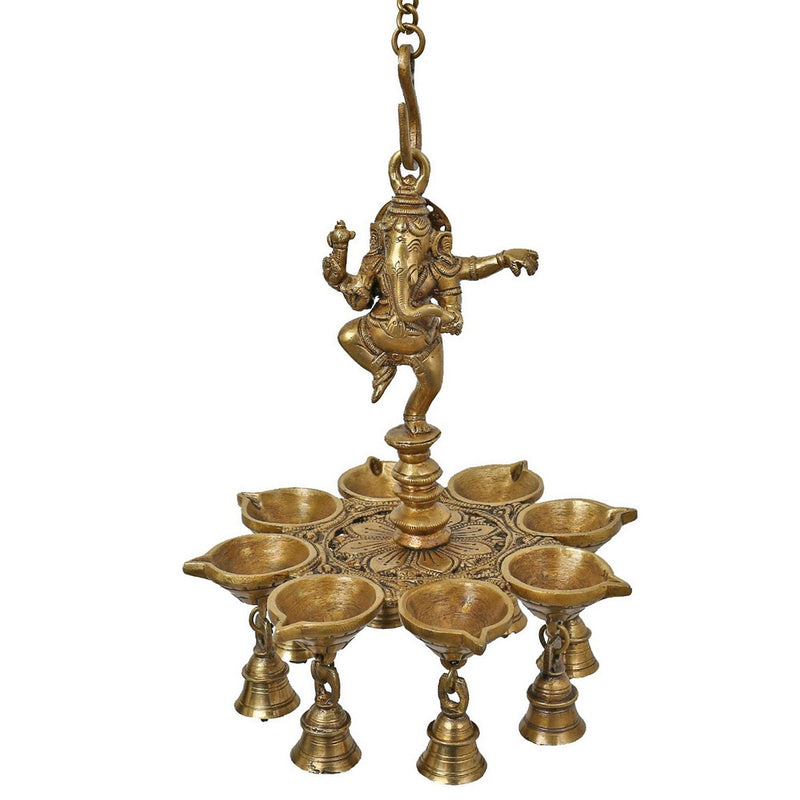 Indian Lamp Set Diwali Lights Hanging Bells Ganesha Sculpture Art Metal Brass
