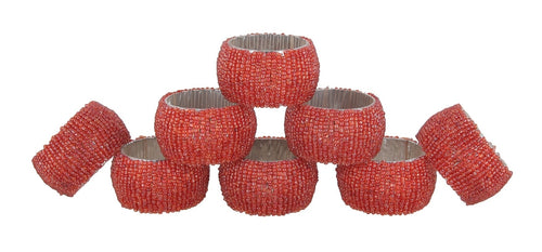 ShalinIndia Beaded Napkin Rings - Set of 8 Rings -Orange Napkin Rings Set -Diameter-1.5 Inch