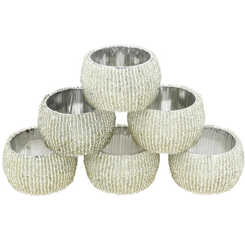 Indian beaded silver napkin holder rings set of 6 handmde in India
