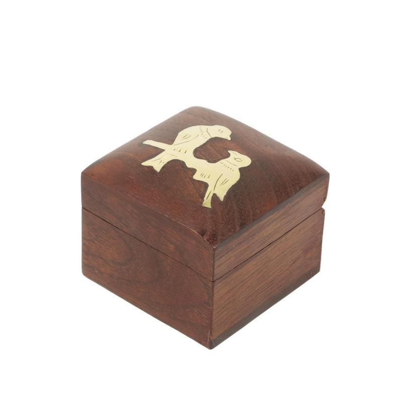 Shalinindia Handmade Indian Bird Tota Maina Wooden Jewelry Box-2X2X1.5 Inch-Perfect For Rings-Artisan Crafted Natural Wood And Brass