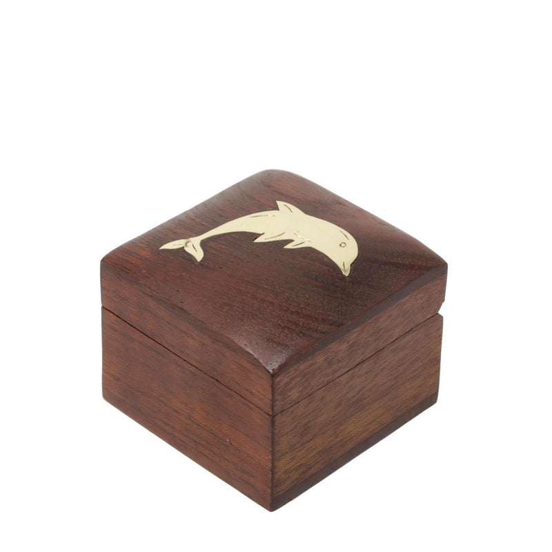 Shalinindia Handmade Indian Dolphin Wooden Jewelry Box-2X2X1.5 Inch-Perfect For Rings-Artisan Crafted Natural Wood And Brass