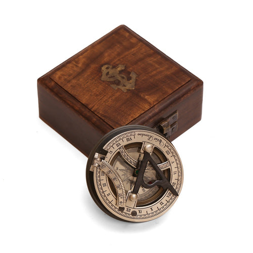 ShalinIndia Solid Silver Sundial and Compass - Antique Inspired Design - Wood Storage Box Included - Travel Accessories