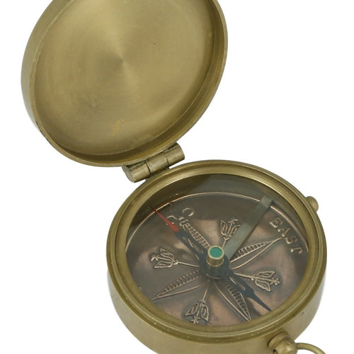 Shalinindia Vintage Inspired Brass Compass With Leather Case Copper Dial -2 Inches Travel Accessories - Made In India