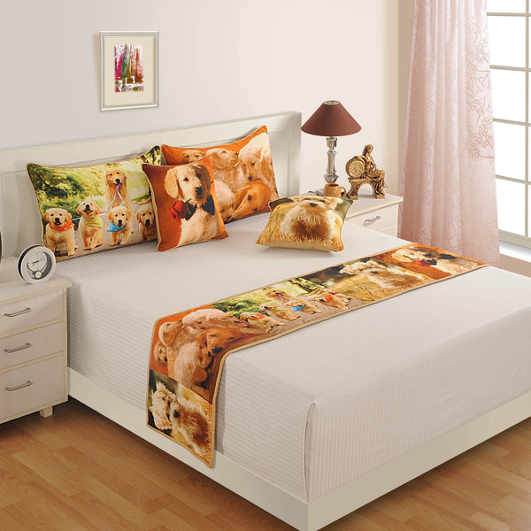Digitally Printed Bed Accessories Set Animal Face Dog: Includes Runner, 2 Cushion Cover & 2 Pillow Cover