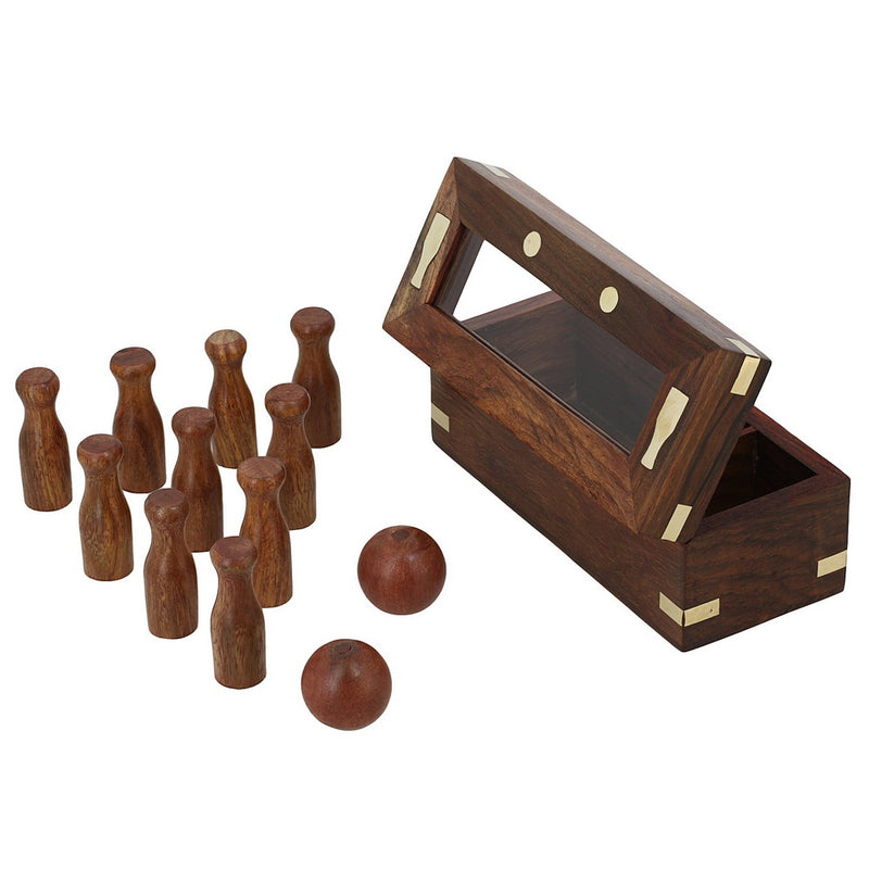 Handmade Indian Mini Bowling Set - Travel Games - Table Games for Kids