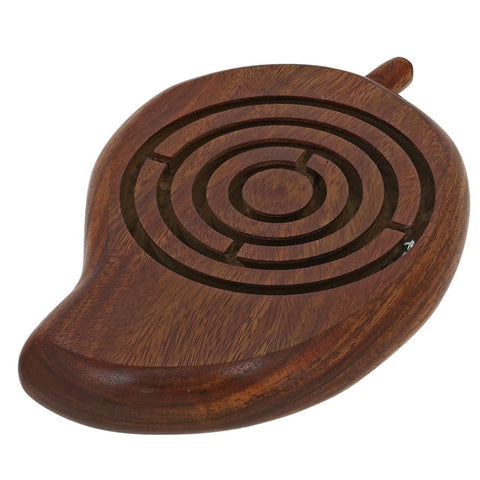 Wooden Ball In a Maze Puzzle Handheld Dexterity Game for Kids, Indian Mango Shape, 7 Inches