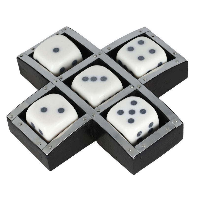 Handmade Resin and Wood Dice Set with Storage Tray - Game Set Includes 5 Dice - Unique Gifts Ideas