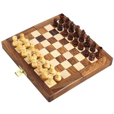 Folding Chess Set And Board Magnetic Wooden Pieces Gifts Unusual Travel Games 7 X 3.5 Inches