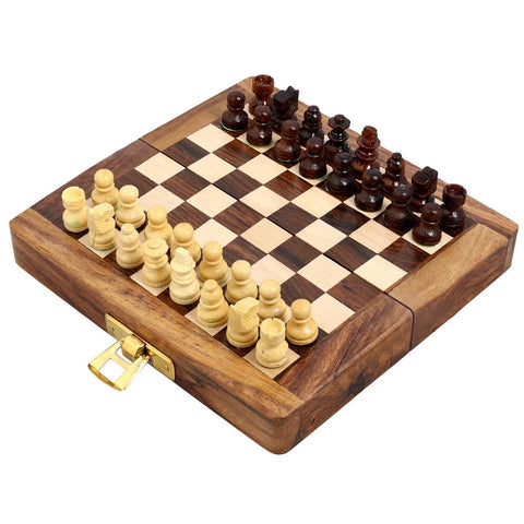 Unique Gifts Folding Travel Chess Set And Board Wooden Magnetic Pieces 5 X 2.5 Inches