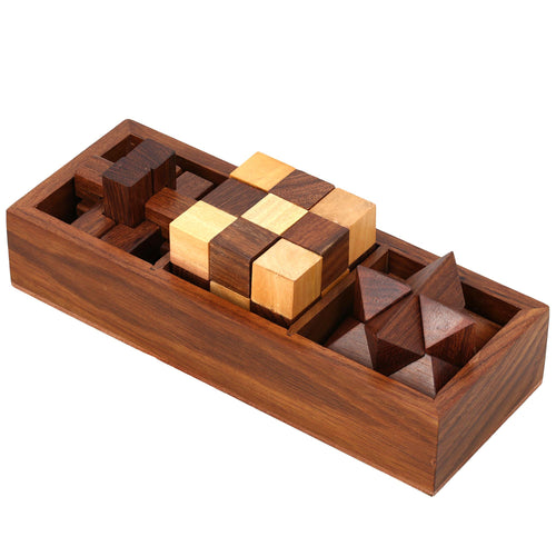 3-in-One Wooden Puzzle Games Set - 3D Puzzles for Teens and Adults - Includes Wood Interlocking Blocks, Diagonal Burr, and Snake Cube in Storage Box