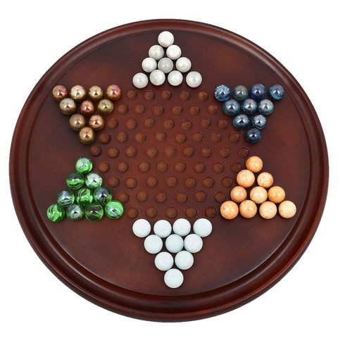 Wooden Chinese Checkers with Glass Marbles; Strategy Board Games for Families; Rosewood Color
