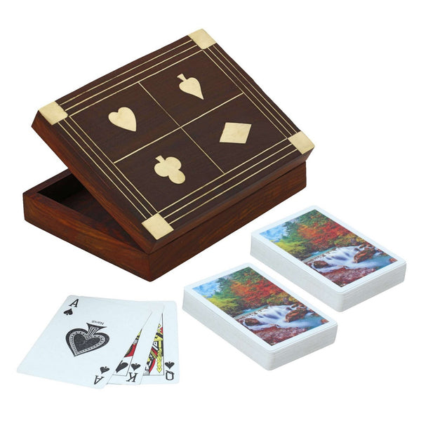 Wooden Box for Holding 2 Sets of Playing Cards Deck With Brass Inlay Decoration of Club Diamond Heart and Spade