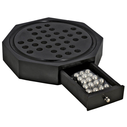 Hexagonal Black Wooden Solitaire Board Games with Metal Marble Pegs and Storage