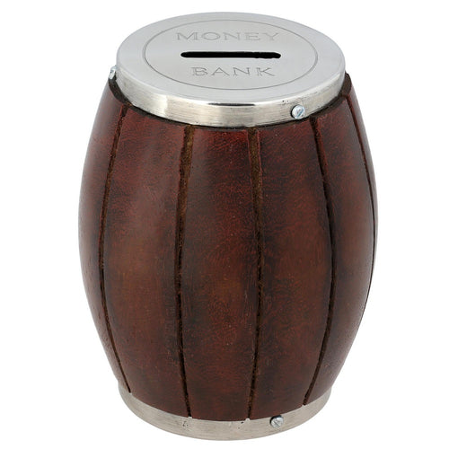 Wooden Barrel Coin Money Box for Kids; Brass Décor xx Inches