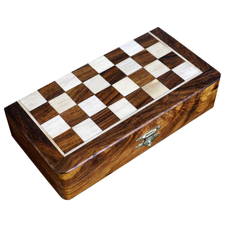Two In One Wooden Board Game For Adults Chess Backgammon 8 X 8 Inches