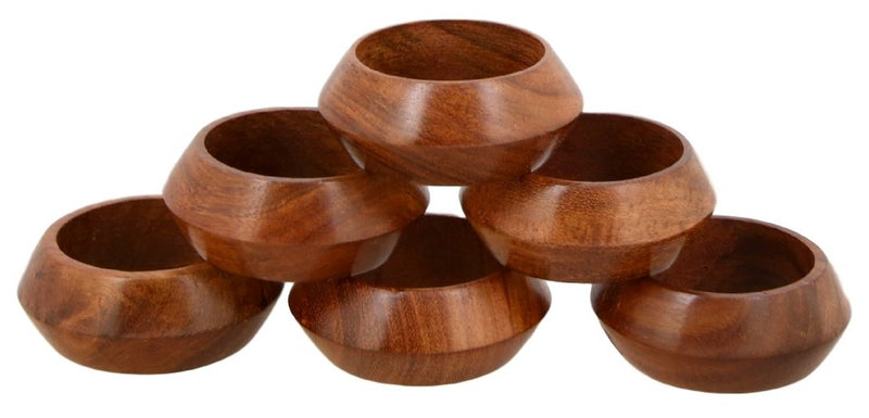 Wooden Napkins rings set of 6 for dining table decorations from India