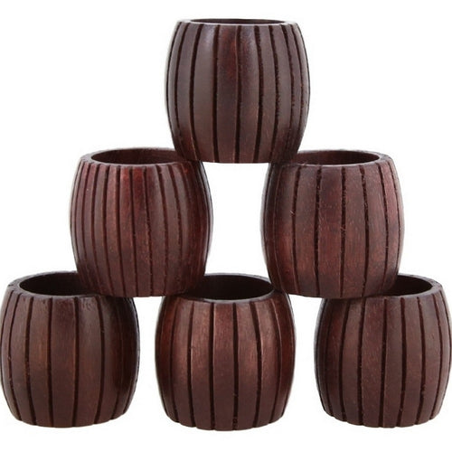 Shalinindia Handmade Grooved Wood Napkin Ring Set With 6 Napkin Rings - Artisan Crafted in India