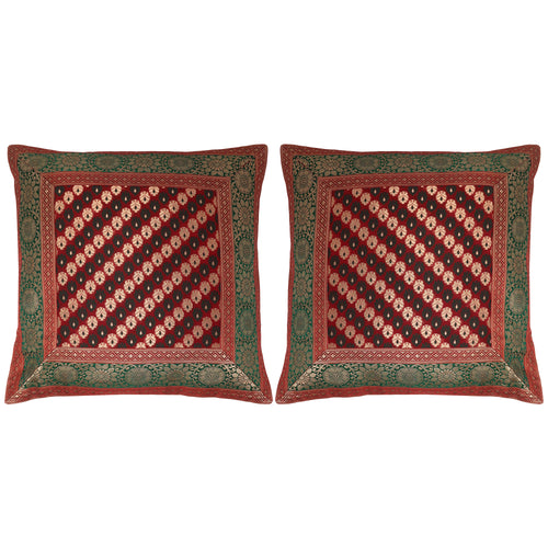 ShalinIndia Set of 2 Benaras Cushion Covers 16 x 16 Printed Viscose Silk Couple Bedroom Décor Gifts