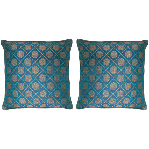 ShalinIndia Set of 2 Benaras Cushion Covers 16 x 16 Printed Viscose Silk Bedroom Décororative Gifts