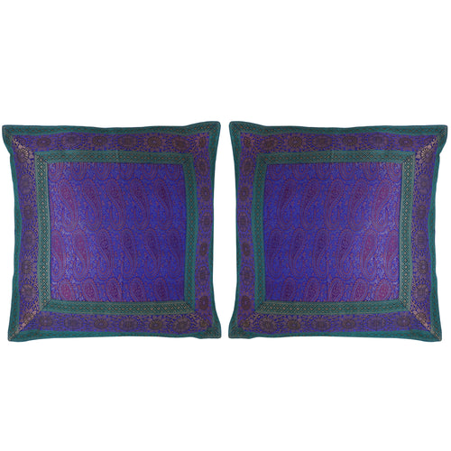 ShalinIndia Set of 2 Benaras Cushion Covers 16 x 16 Jacquard Viscose Silk Room Décor Gift