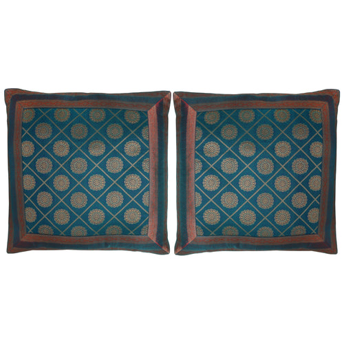 ShalinIndia Set of 2 Benaras Cushion Covers 16 x 16 Jacquard Printed Viscose Silk Room Décor Gift
