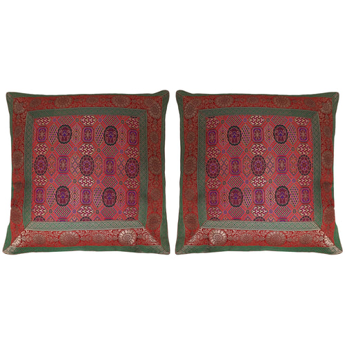 ShalinIndia Set of 2 Benaras Cushion Covers 16 x 16 Jacquard Printed Viscose Silk Bedroom Décor Gift