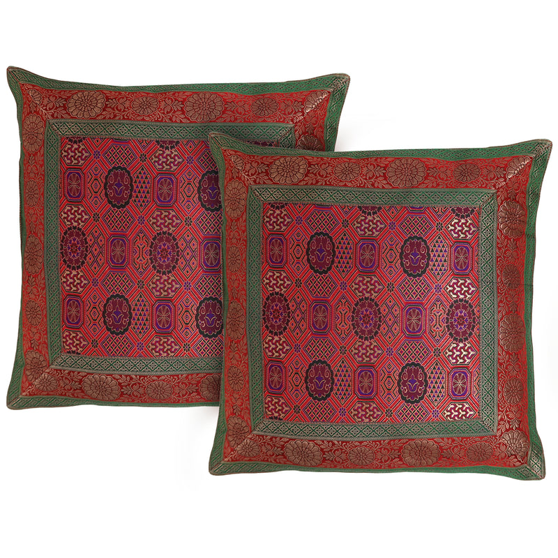 ShalinIndia Set of 2 Benaras Cushion Covers 16 x 16 Jacquard Viscose Silk Room Décor Gifts