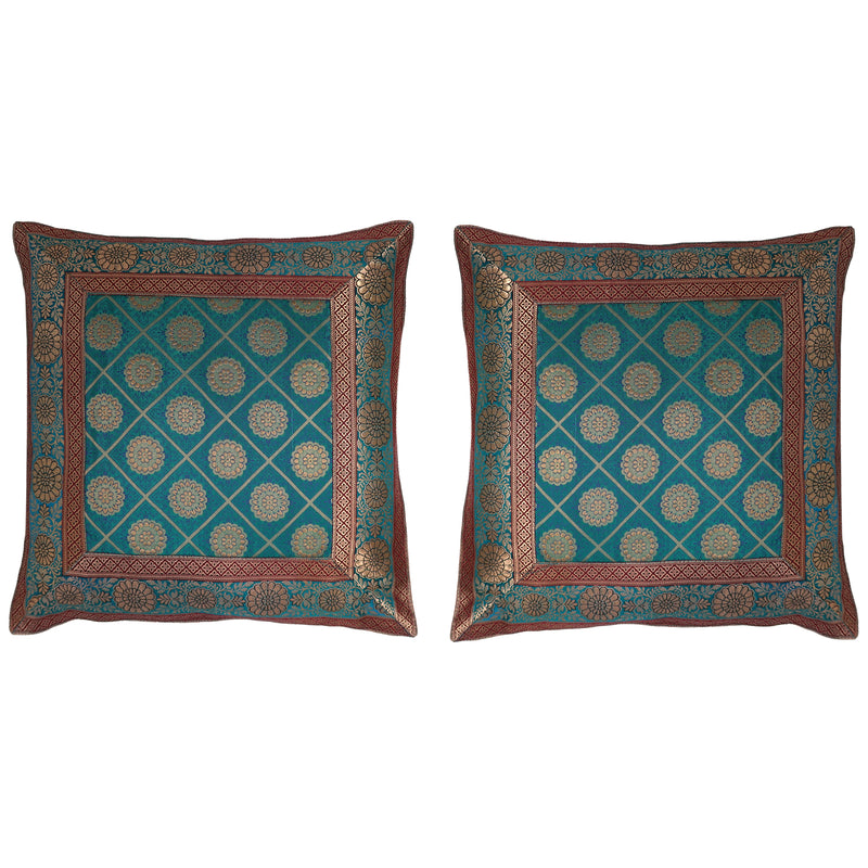 ShalinIndia Set of 2 Benaras Cushion Covers 16 x 16 Jacquard Viscose Silk Bedroom Décor Gifts