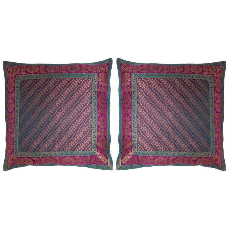 ShalinIndia Set of 2 Benaras Cushion Covers 16 x 16 Printed Viscose Silk Couple Home Décor Gifts