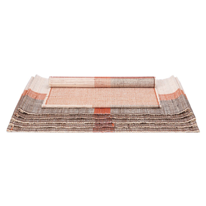 Handloom Woven Eco Friendly Banana Bark And River Grass Cross Table Mat Set Of 6 13x19 Inch-Kitchen Dining Home Décor-With A Cotton Bag,Rust