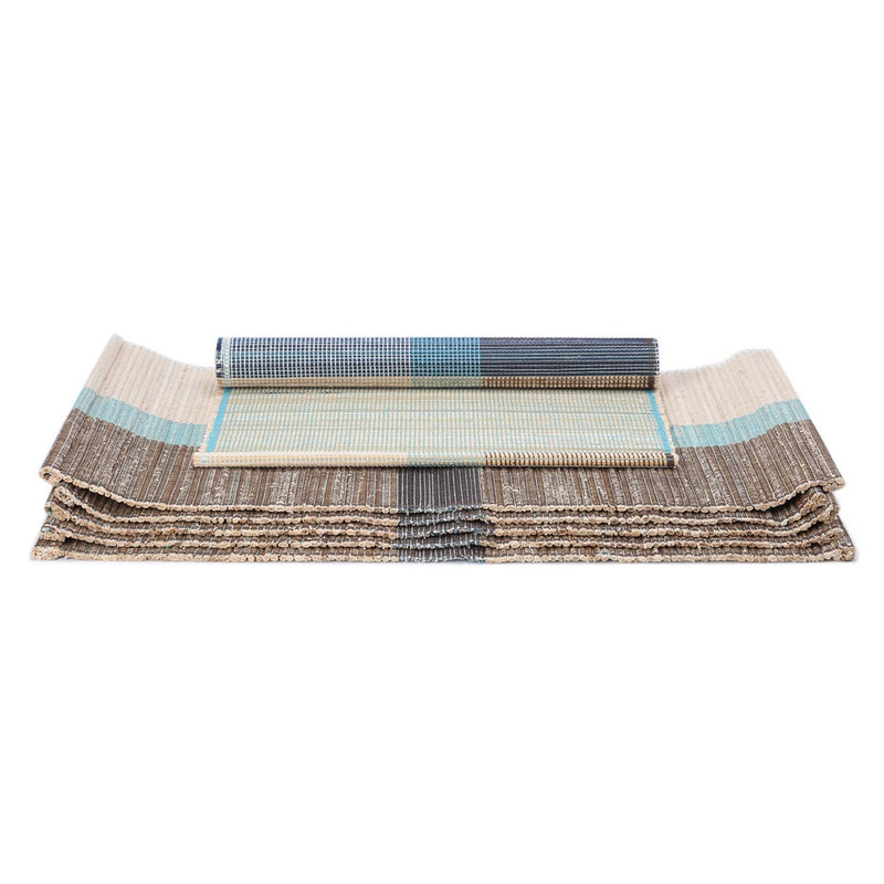 Handloom Woven Eco Friendly Banana Bark And River Grass Cross Table Mat Set Of 6 13x19 Inch-Kitchen Dining Home Décor-With A Cotton Bag,Turquoise
