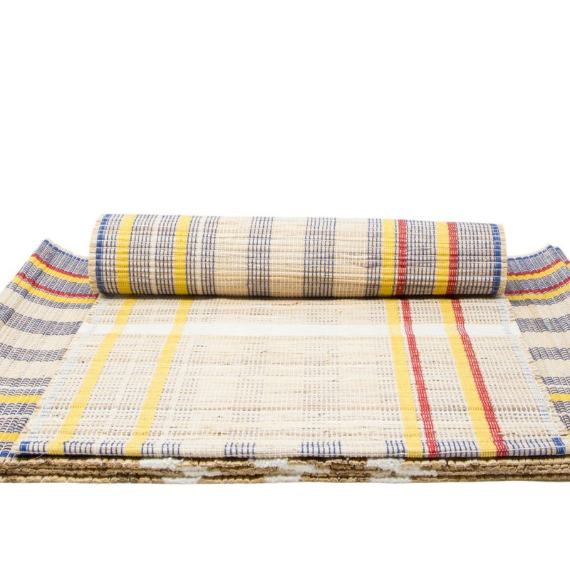 Handloom Woven Eco Friendly Placemat Set Of 6 Banana And Jute table Mat 13 X 19 Inch For Kitchen Dining Home Decor-With A Cotton Bag