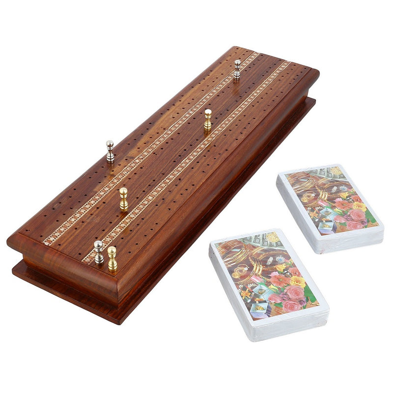 Handmade Cribbage Game Set With 2 Decks of Cards and 6 Metal Pegs - Integrated Storage - Great Gift for Card Players