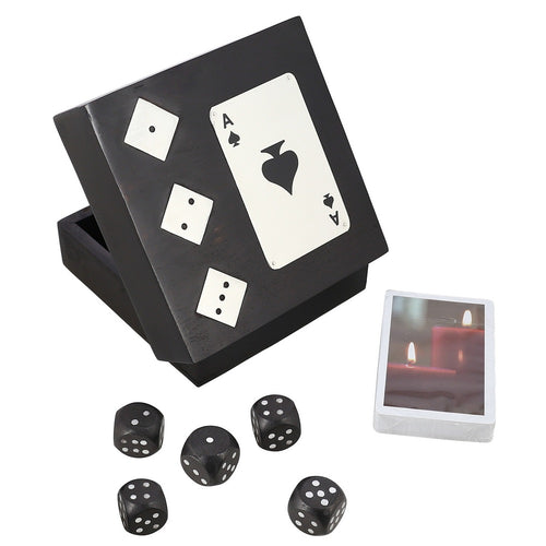Handmade Black Wooden Storage Box For Playing Cards And Set Of Five Dices- Unique Gifts for Any Occasion