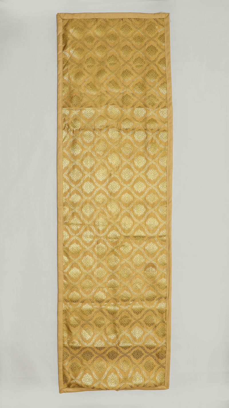 "Shalinindia Brocade Silk Table Runner for Dining Center Table Top Elegant Ethnic Home Furnishing Decorative Indian Heavy Quality Colour Gold Size 13x60"" Festive Gift(SI_K_RNR_13x60_003)"