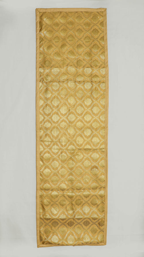 "Shalinindia Brocade Silk Table Runner for Dining Center Table Top Elegant Ethnic Home Furnishing Decorative Indian Heavy Quality Colour Gold Size 13x72"" Festive Gift(SI_K_RNR_13x72_003)"